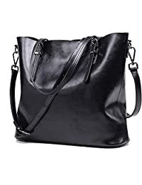 Myymee European and American Style Women Cowhide Shoulder Handbags Leather Bucket Bag