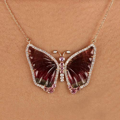 Genuine 15.57 Ct. Pink Tourmaline Pave Diamond Butterfly Pendant Solid 14k Rose Gold Necklace Wedding Fine Jewelry Thanksgiving Day Gift For Her