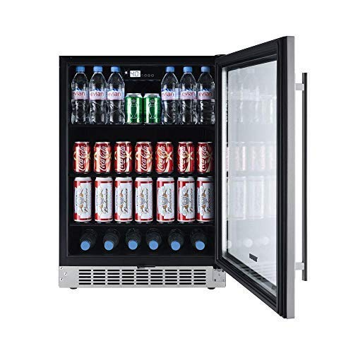 Titan 24 inch 142 Cans Built-in Beverage Cooler, Adjustable Glass Shelves, Seamless Stainless Steel Door, Memory Temp Function, Open Door&High Temp Alarms, Security Lock and Key