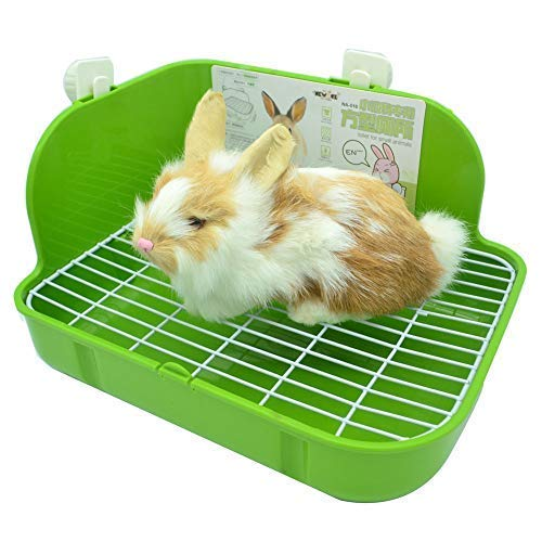 (WYOK Rabbit Litter Box Toilet, Plastic Square Cage Box Potty Trainer Corner Litter Bedding Box Pet Pan for Small Animals, Rabbits, Guinea Pigs, Chinchilla, Ferret, Galesaur, 11.4 Inches (Green))