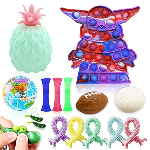 15Pcs Sensory Fidget Toys Set,Fidget Pack Cheap Relieves Stress and Anti-Anxiety Push pop for Kids Adults Perfect for Birthday Party Favors, School Classroom Rewards