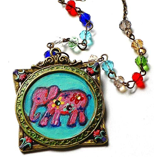 Painted Pink Elephant Pendant Necklace Colorful Glass Beads Swarovski Crystal Rhinestones Teen Girl Gift ()