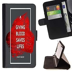 King Case - FOR Samsung Galaxy S4 Mini i9190 - giving blood saves lifes - Prima caja de la PU billetera de cuero con ranuras para tarjetas, efectivo Compartimiento desmontable y correa para la mu?eca