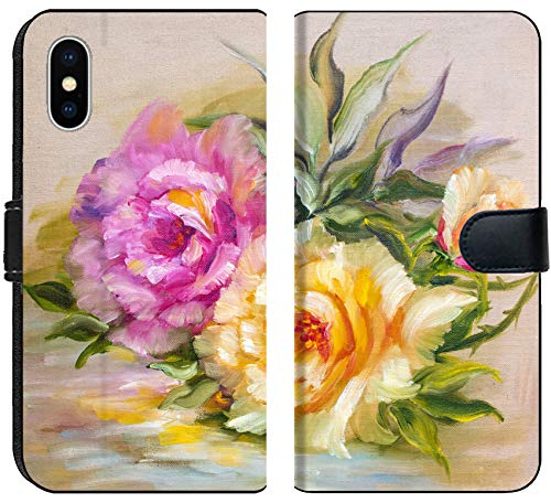 Luxlady iPhone X Flip Fabric Wallet Case Image ID: 38000961 Vinage Pink and Yellow Roses Oil Painting on ()