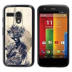 For Motorola Moto G1 / X1032 Case , Watercolor Woman Deep Meaning - Diseño Patrón Teléfono Caso Cubierta Case Bumper Duro Protección Case Cover Funda