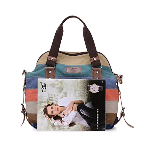 Multi Hobos Canvas Striped Women's Shoulder Style color Tote Fashion B Handbag Bag pqUtwxwIE