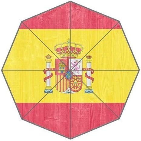 Bandera de España fondo triple plegable lluvia paraguas/sombrilla/sol paraguas: Amazon.es: Ropa y accesorios