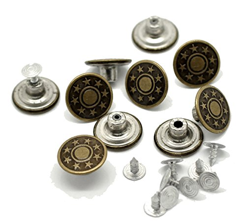 PEPPERLONELY Brand 50 Sets Antiqued Bronze Stars Jean Tack Buttons 17x8mm and 8x8mm (5/8x3/8 Inch and 3/8x3/8 Inch)