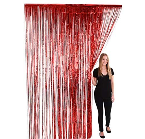 (OIG Brands Foil Fringe Tinsel Backdrop Curtains - Metallic Back Drop for Birthday Party Wedding Decorations and Photo Booth Background Prop 36 x 96 Inches (Red))