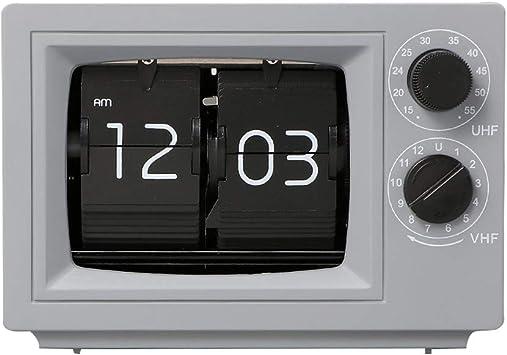 TV, Tapa De Un Reloj De Época, con Pilas De Televisión Digital Apariencia Reloj De Escritorio para El Hogar, Oficina, Sala De Estar Decoración, Gris: Amazon.es: Hogar