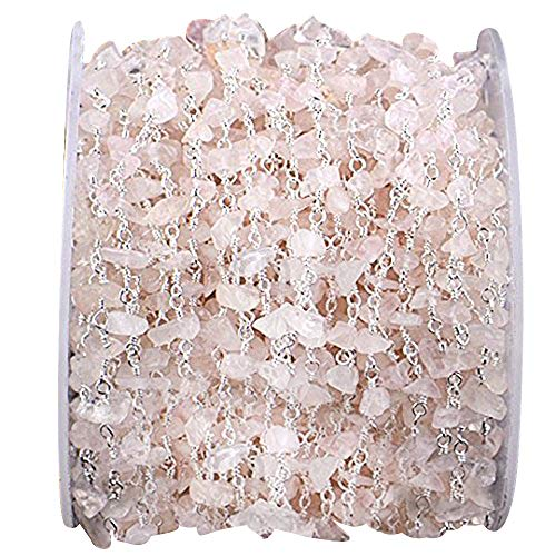 (Wholesale One Foot Beautiful Rose Quartz Nugget Chip Beads Rosary Chain With Silver Plated Wire Wrapped Rosary Chain By Foot. (SPRQ-30025))