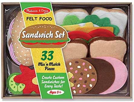 Melissa & Doug Felt Play Food Sandwich Set (Pretend Play, Easy to Clean, Includes Play Ideas, 33 Durable Pieces, Great Gift for Girls and Boys - Best for 3, 4, 5, 6, and 7 Year Olds)