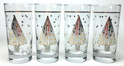 Circleware 76937/C S/4-14.5 OZ Gold & Silver Christmas Tree Decal Highball Set Home and Kitchen Utensils, 14.5oz