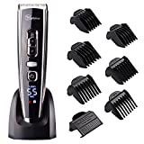 Cordless Clippers Hair Clippers for Men Hair Trimmer with Titanium Ceramic Blade,LED Display, Lithium Battery,Charger Stand,USB Rechargeable Fathers Day Gifts #Hatteker RFC-6618