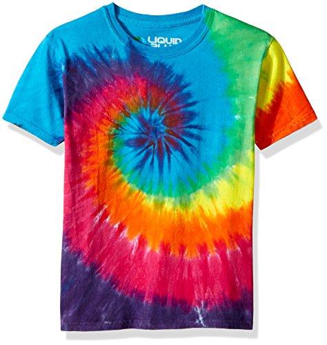 (Liquid Blue Kids' Big Rainbow Spiral Short Sleeve T-Shirt, tie/dye, Large)