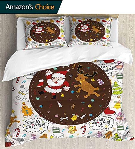 Dancing Santa Reindeer - Kids Christmas Full/Queen Size Quilt Bedding Set,Dancing Santa and Reindeer Happy New Year Cute Childish Party Icons Doodle Kids Bedding - Double Brushed Microfiber 68