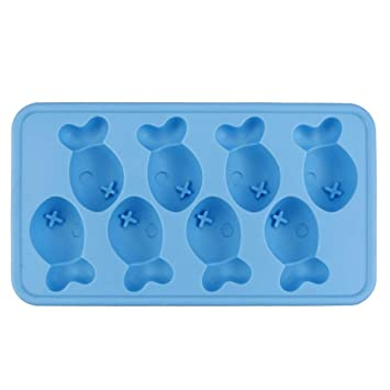 Molde de goma flexible para 8 cubitos de hielo con forma de pez ...