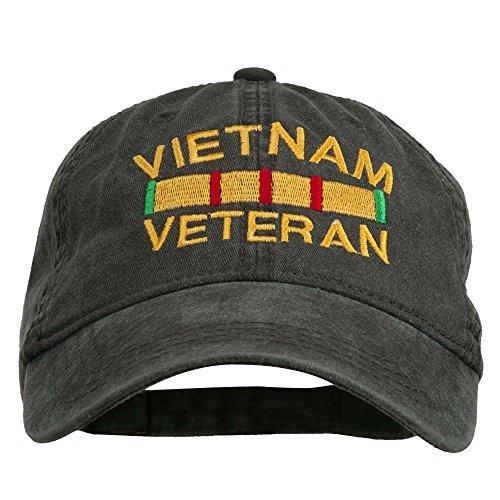 e4Hats.com Vietnam Veteran Embroidered Pigment Dyed Brass Buckle Cap - Black OSFM