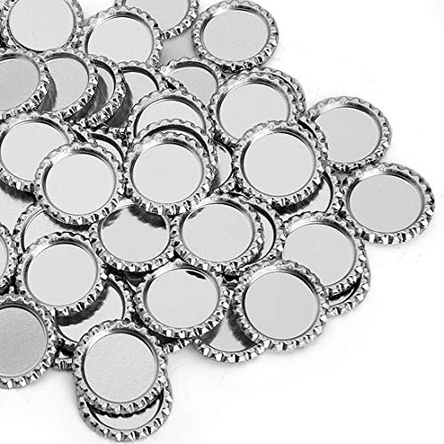 IGOGO 200 PCS Silver Chrome Bottle Caps for Hair Bows, DIY Pendants or Craft Scrapbooks