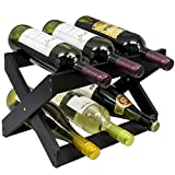 Sorbus Bamboo Foldable Countertop Wine Rack 6-bottles (Black)