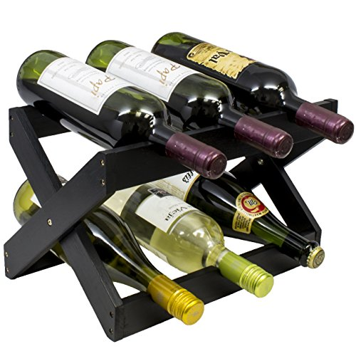 Sorbus Bamboo Foldable Countertop Wine Rack 6-bottles (Black) (12 Bottle Wine Rack Black)