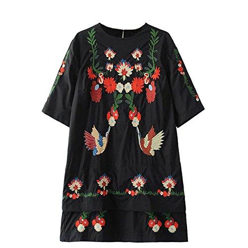 Viport Women's Crane Floral Embroidered Short Sleeve Shift Mini Dress Sundress (Medium) (Embroidered Floral Sundress)
