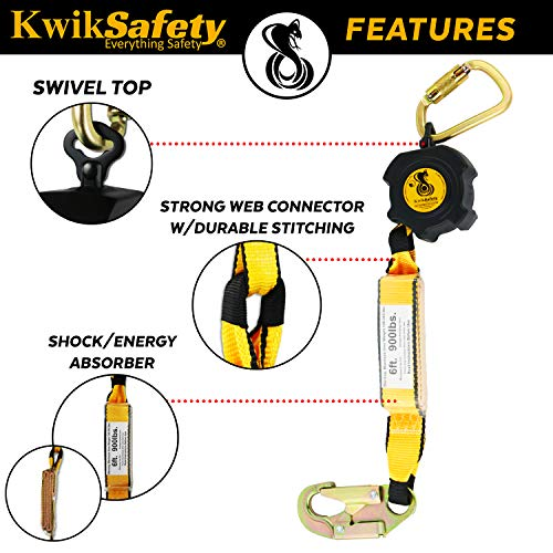 KwikSafety (Charlotte, NC) 10' COBRA Self Retracting Lifeline | Poly Web | ANSI Class B SRL w/Steel Carabiner Locking Clip Snap Hook | Roofing Construction Personal Fall Arrest Protection Safety Yoyo by KwikSafety (Image #4)
