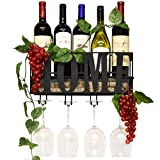 Gift Boutique Wall Mounted Metal Home Wine Rack with Glass Holder with Cork Storage Decorative Kitchen Hanging Bottle Glasses Shelf Stemware for Living Room Decor
