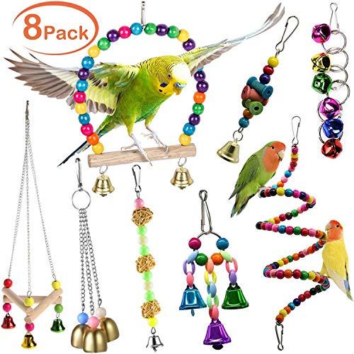 XQINCAI Bird Swing Toy Set, 8 Pet Bird Parrot Cage Toy Set, Swing Chewing Hanging Parrot Perch with Bell, Parrot Bird…