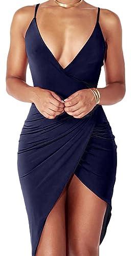 Women's Sexy Deep V Neck Sleeveless Backless Bodycon Club Night Party Mini Dress