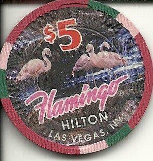 $5 flamingo hilton las vegas casino chip vintage