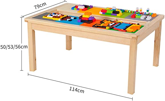 Juegos de mesas y sillas Mesa de Madera para niños 1-2-3-6 años Mesa de Comedor de Madera Maciza Mesa de Estudio de educación temprana Multifuncional Mesa (Color : Wood Color, Size :