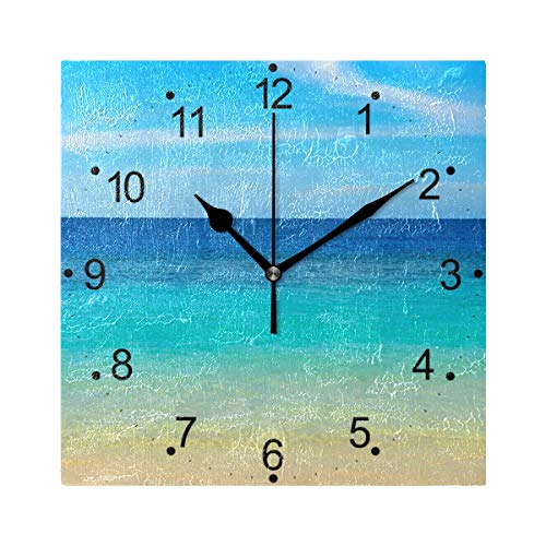 LORVIES Sea Blue Ocean Wall Clock Silent Non Ticking Acrylic 8 Inch Square Decorative Clock for Home/Office / Kitchen/Bedroom / Living Room