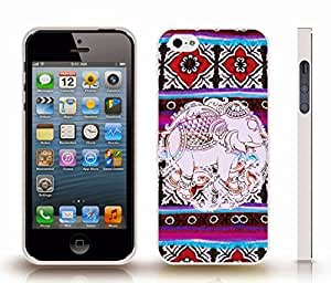 iStar Cases? iPhone 4 Case with Indian Elephant Pattern on a Colorful Rug Pattern Background , Snap-on Cover, Hard Carrying Case (White)