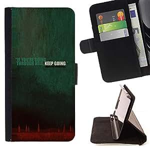 Momo Phone Case / Flip Funda de Cuero Case Cover - Yendo Aunque Infierno Keep Going Cita de la inspiración - Sony Xperia Style T3