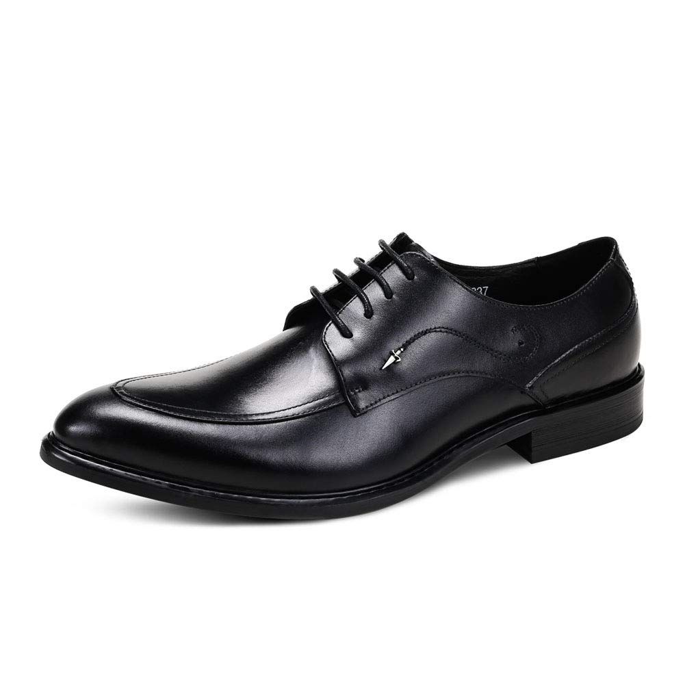 Black Men's Derby shoes Handmade British shoes Lace-up shoes Business shoes Gentleman shoes for Meeting Marry