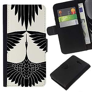 Cigüeña Arte Dibujo tinta blanca- la tarjeta de Crédito Slots PU Funda de cuero Monedero caso cubierta de piel Para Sony Xperia M2