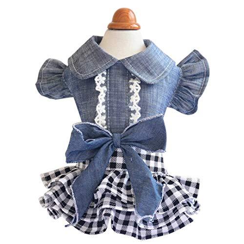 - Jim-Hugh Spring Pet Dogs Clothes Tutu Summer Dog Dress Denim Skirt Jeans Costume Puppy Chihuahua Poodle Bichon Clothing