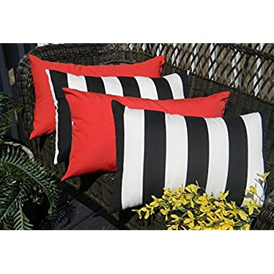 Resort Spa Home Decor Set of 4 Indoor/Outdoor Decorative Lumbar/Rectangle Pillows - 2 Black & White Stripe and 2 Solid Red : Garden & Outdoor