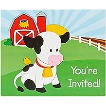 Farm Animal Party Supplies - Invitations (8)