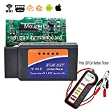 Mougerk Car WIFI OBDII Scan Tool, Read ECU Data, Read&Clear DTCs, ELM 327 / OBD 2 Scanner Diagnostic Tool, for iPhone iPad & Android, with 12V Car Battery Tester