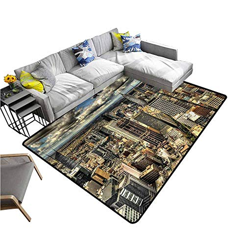Bathroom Floor mats Urban,Melbourne Cityscape Modern Australia Architecture Buildings Metropolis Dramatic Sky,Multicolor 48