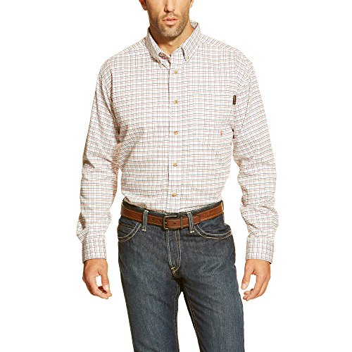 Ariat Men's Big and Tall Flame Resistant Work Shirt, White Multi, X-Large/Tall