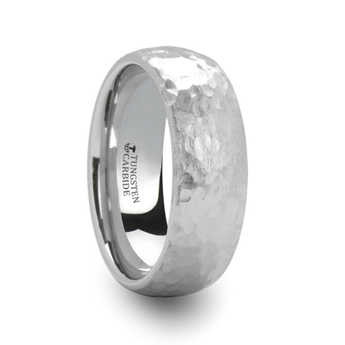 Thorsten Chandler Hammered Finish Domed White Tungsten Ring 8mm Wide Wedding Band from Roy Rose Jewelry Size 9.5 by Thorsten