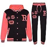 Kids Girls Boys Baseball Tracksuit - Fox Black & Neon Pink - 13 Years