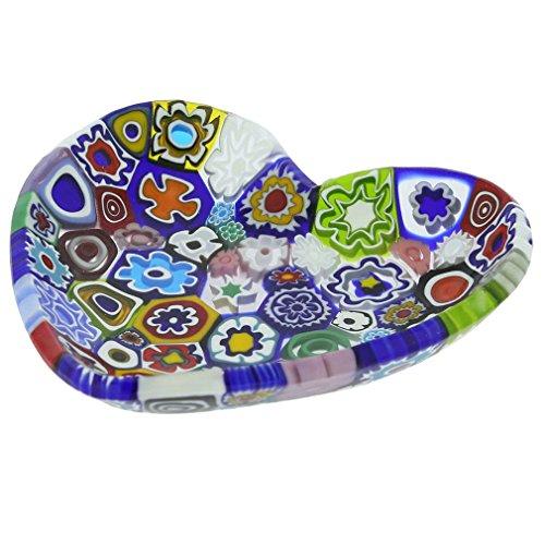 GlassOfVenice Murano Millefiori Heart Plate - Multicolor ()
