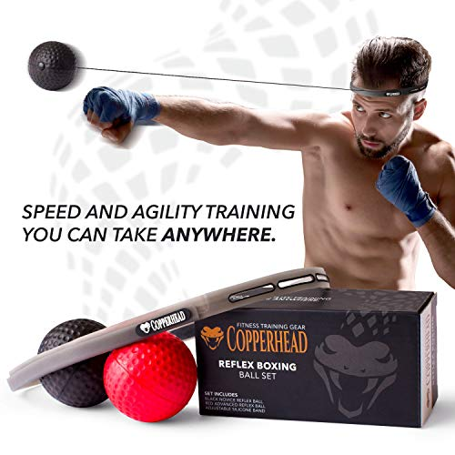 Copperhead Boxing Reflex Ball Punching Fight Ball Head Band - 2 Difficulty Level, Training Set Instructions, Perfect for Reaction, Skill, Agility, Speed, Hand Eye Coordination, MMA Equipment