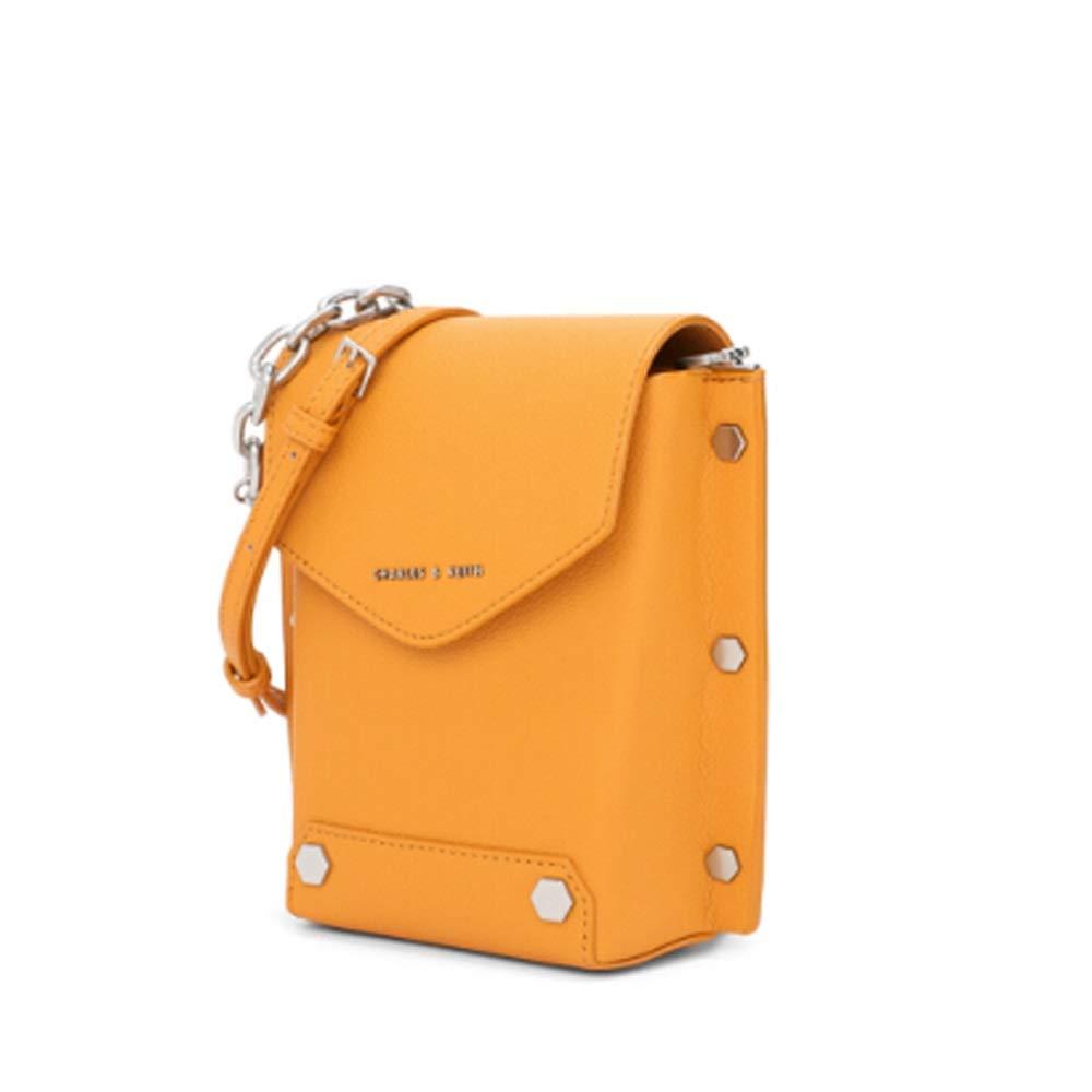 LONG SHOP レザーバッグ - 携帯電話バッグメタルリベットデコレーションレディースチェーンショルダーバッグメッセンジャーバッグ 手荷物/ハンドバッグ/ショルダーバッグ (色 : 黄) B07Q5ZCBQW