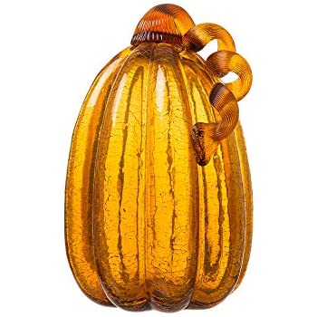 Glitzhome Amber Crackle Tall Glass Pumpkin