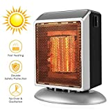 Space Heater, HALOFUN Mini Electric Heater for Home and Office Ceramic Small Heater with Over-Heat & Tilt Protection, 500W (Silver)